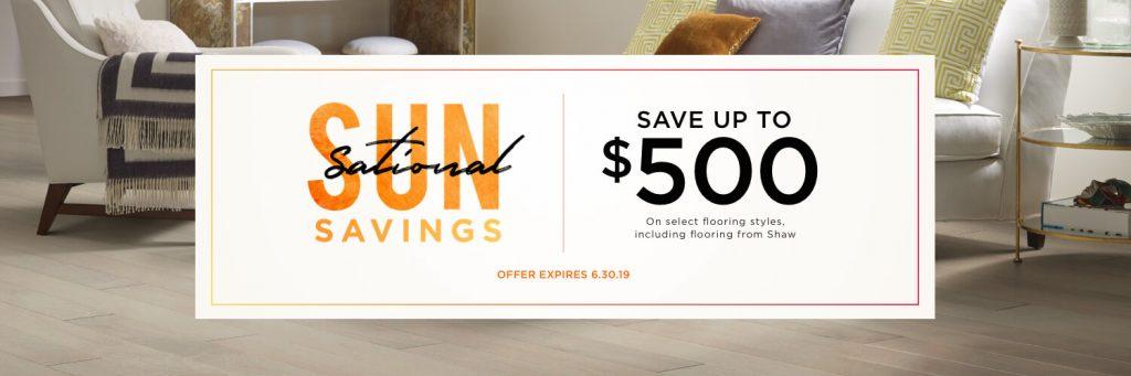 Sun sational savings banner | Carpet Advantage